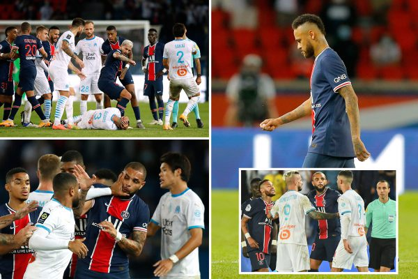 Neymar sent off for PUNCH with FIVE seeing red in mass brawl as PSG superstar says he was called 'monkey son o – The Sun